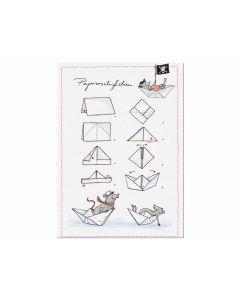 Postkarte Papierschiffchen