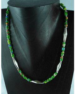 Halskette Silber und Glasperlen