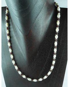 Halskette Silber Süsswasserperlen